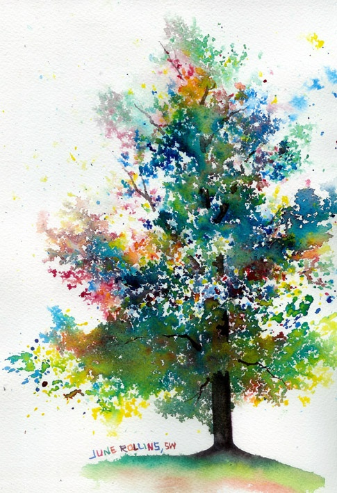 дерево (техника: брызги)